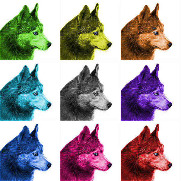 Painting - Siberian Husky Art - 6048 - Wb - M by James Ahn