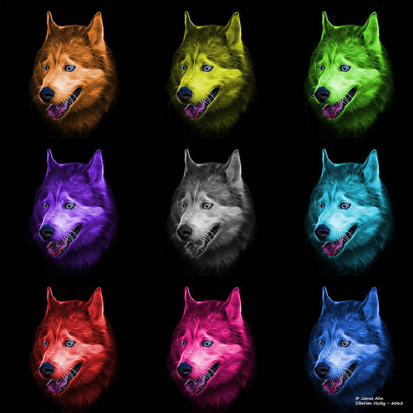 Painting - Siberian Husky Dog Art - 6062 - Bb - M by James Ahn