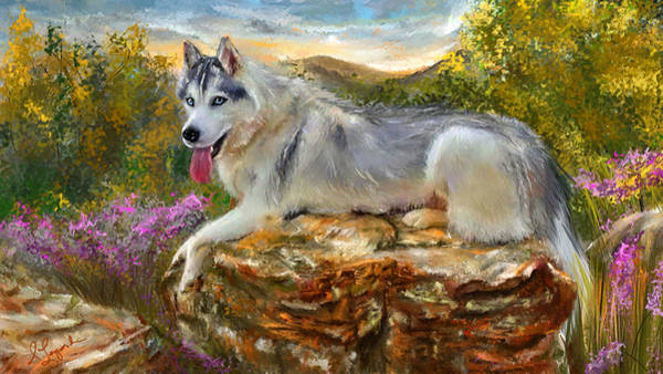 Painting - Siberian Leisure - Siberian Husky Painting by Lourry Legarde