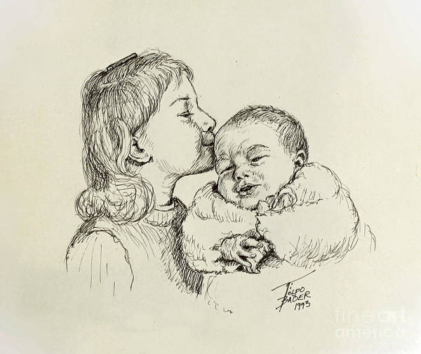 Drawing - Sibling Love by Art By - Ti   Tolpo Bader