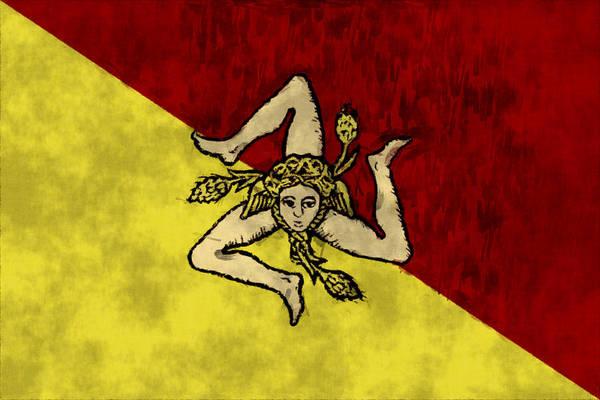 Wall Art - Digital Art - Sicily Flag by World Art Prints And Designs