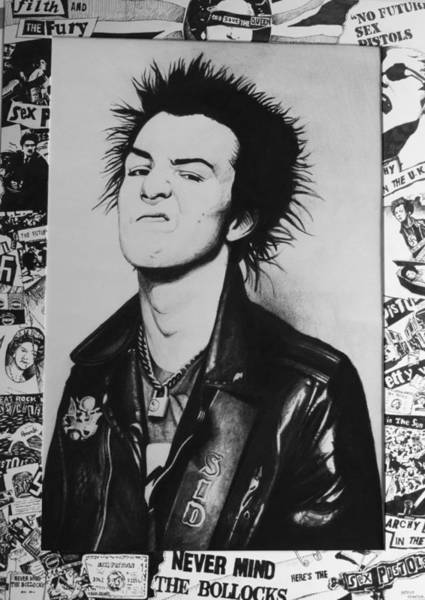 Sex Pistols Drawing - Sid Vicious Collage by Steve Hunter