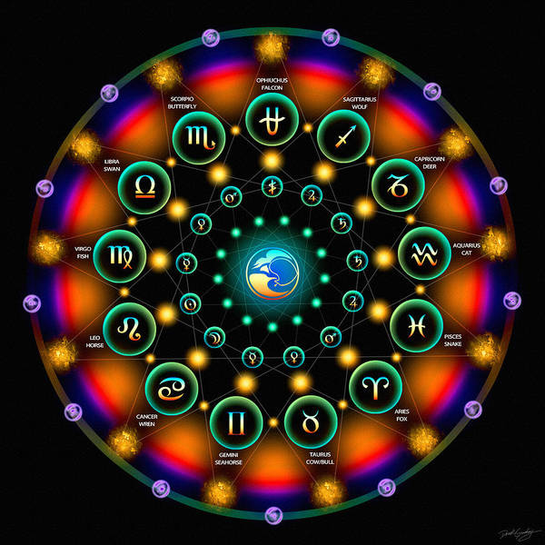 Digital Art - Sidereal Celtic Moon Zodiac by Derek Gedney