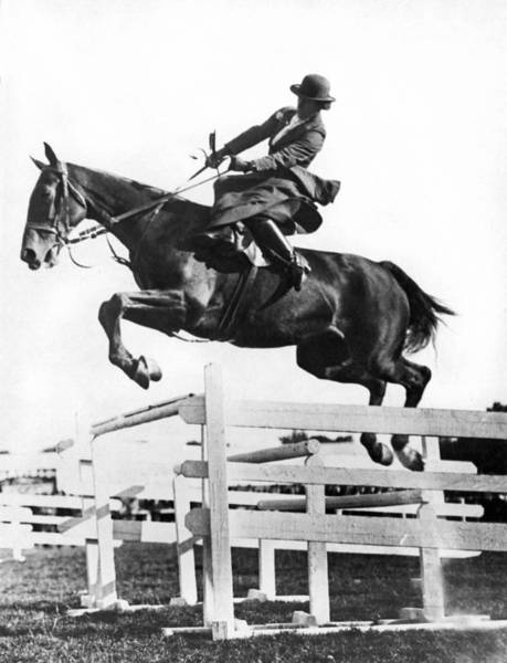 Cardiff Photograph - Sidesaddle Jumps At Horse Show by Underwood Archives