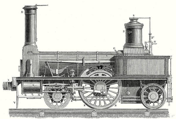 Locomotive Drawing - Sideview Of A Locomotive Showing The Mechanism Of The Engine by English School