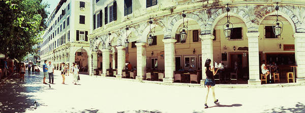 Sidewalk Cafe Photograph - Sidewalk Cafe In A City, Corfu, Ionian by Panoramic Images