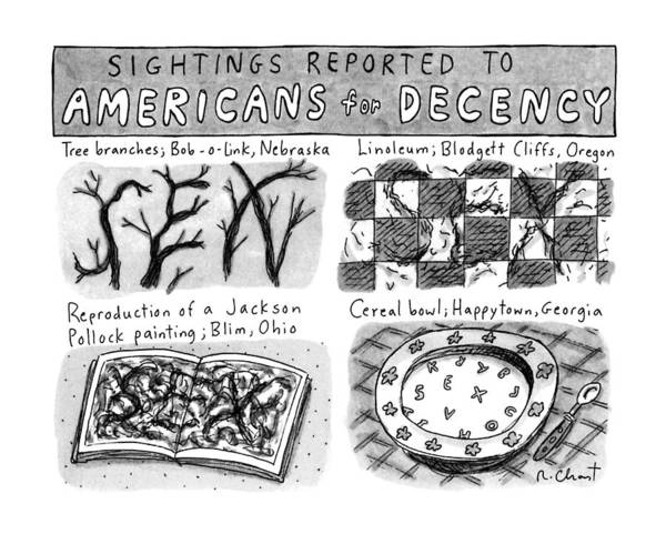 Disguise Drawing - Sightings Reported To Americans For Decency by Roz Chast
