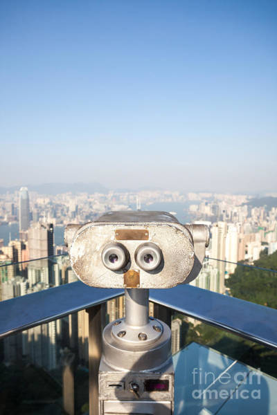 Wall Art - Photograph - Sightseeing Binoculars On Victoria Peak Hong Kong by Matteo Colombo