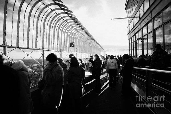 Reach For The Sky Wall Art - Photograph - Sightseers Looking East At The View From Observation Deck 86th Floor Empire State Building by Joe Fox
