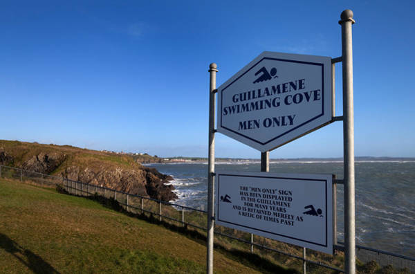County Waterford Photograph - Sign At Guillamene Swimming Cove by Panoramic Images