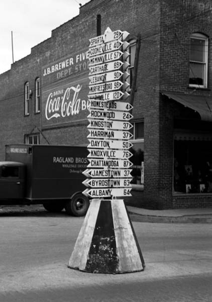 Crossville Photograph - Sign Post In Crossville Tennessee 1939 by Mountain Dreams