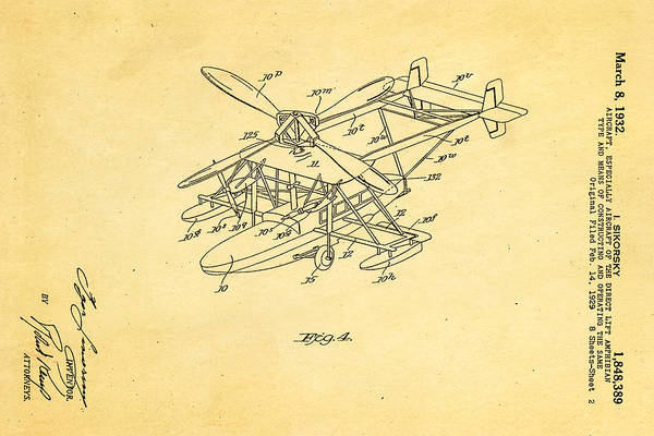 Fitter Photograph - Sikorsky Helicopter Patent Art 2 1932 by Ian Monk