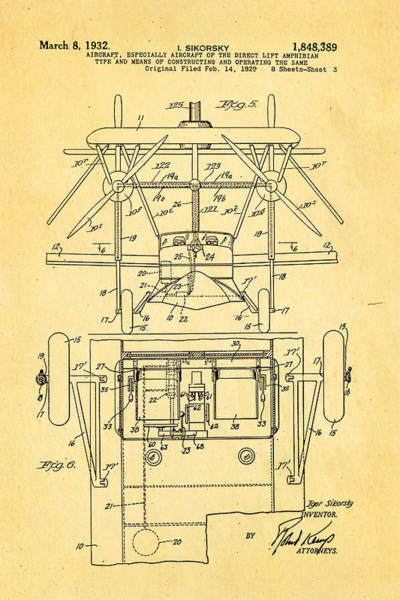 Fitter Photograph - Sikorsky Helicopter Patent Art 3 1932 by Ian Monk