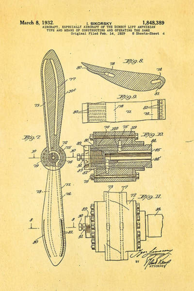Fitter Photograph - Sikorsky Helicopter Patent Art 4 1932 by Ian Monk