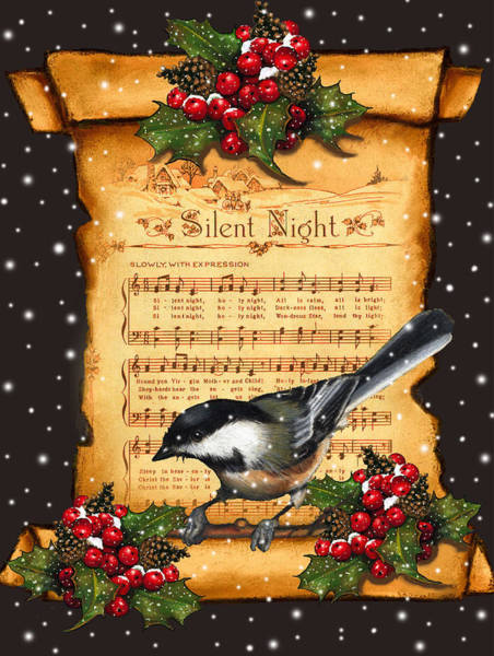 Night Mixed Media - Silent Night Christmas Greeting Card With Bird by Joyce Geleynse