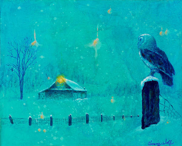 Painting - Silent Night by Kevin Chasing Wolf Hutchins