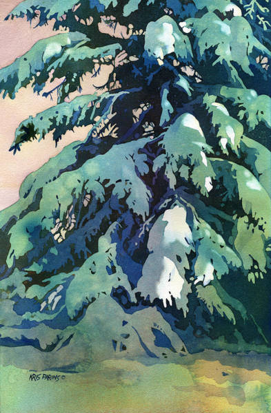 Pine Forest Painting - Silent Season by Kris Parins