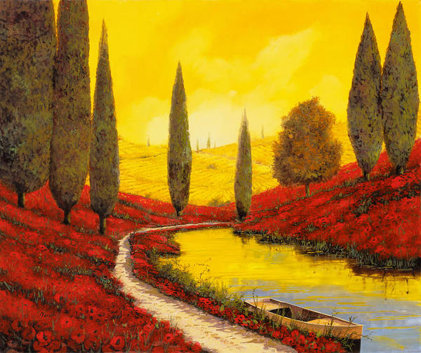 Weathered Painting - Silenzio Tra I Cipressi by Guido Borelli