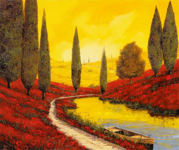 The Sky Wall Art - Painting - Silenzio Tra I Cipressi by Guido Borelli