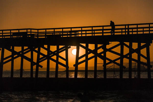 Photograph - Silhouette  At Seal Beach Pier by Denise Dube