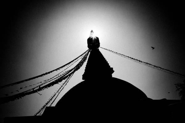 Photograph - Silhouette Boudhanath Giant Buddhist Stupa In Kathmandu Himalaya Nepal  by Raimond Klavins