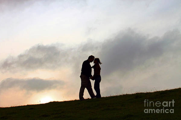 Silhouette Couple Holding Each Other Art Print