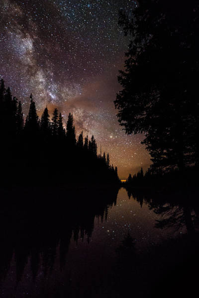 Lake Granby Wall Art - Photograph - Silhouette Curves In The Starry Night by Mike Berenson