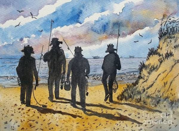 Wall Art - Painting - Four Fishing Friends by Don Hand