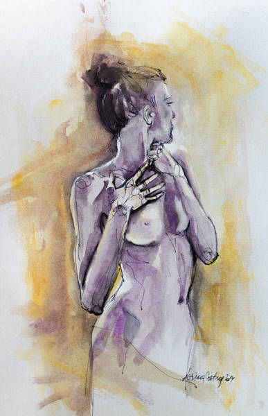 Wall Art - Painting - Silhouette In Purple by Dorina  Costras