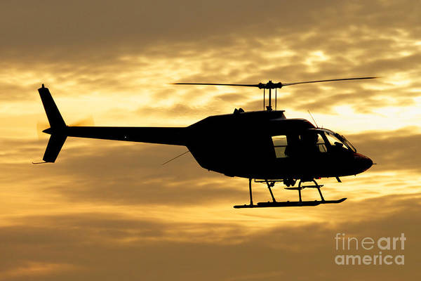 Utility Aircraft Photograph - Silhouette Of A Bell 206 Utility by Luca Nicolotti