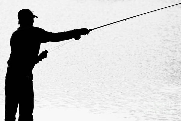 Angler Art Photograph - Silhouette Of A Fisherman Holding A Fishing Pole Bw by James BO Insogna