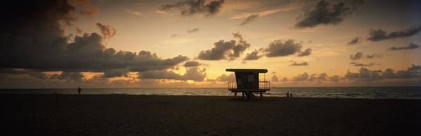 Dade Photograph - Silhouette Of A Lifeguard Hut by Panoramic Images