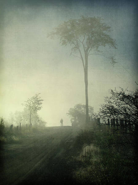 Silhouette Photograph - Silhouette Of A Man In Fog by Francois Dion