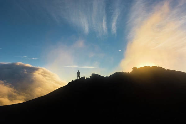 Wall Art - Photograph - Silhouette Of A Man On Pacaya Volcano by Andres Valencia