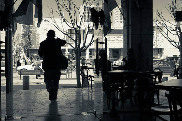 Manger Photograph - Silhouette Of A Person At Cafe by Panoramic Images