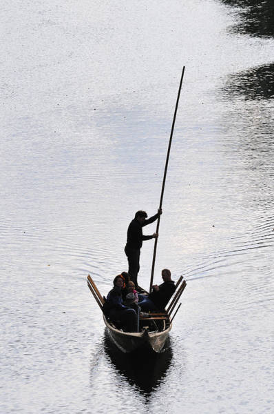 Singly Photograph - Silhouette Of A Punt On The River by Matthias Hauser