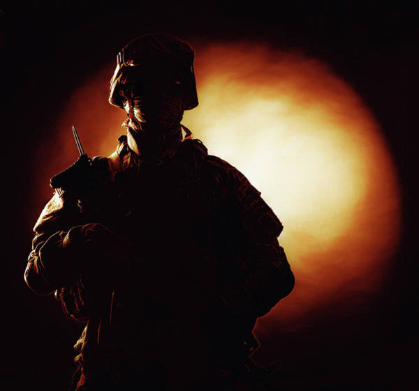 Infantryman Wall Art - Photograph - Silhouette Of Army Soldier In Combat by Oleg Zabielin