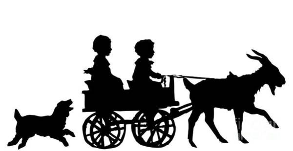 Digital Art - Silhouette Of Children In A Goat Cart by Rose Santuci-Sofranko