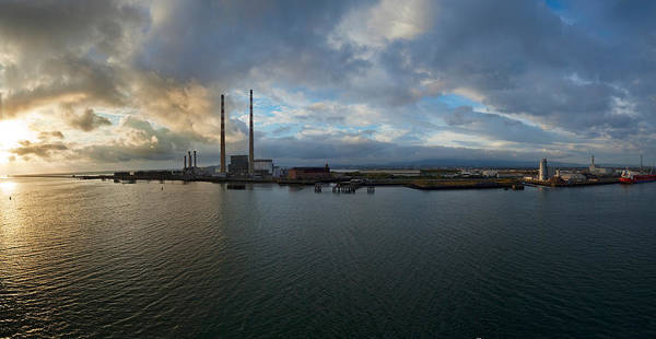 River Liffey Wall Art - Photograph - Silhouette Of Chimneys Of The Poolbeg by Panoramic Images