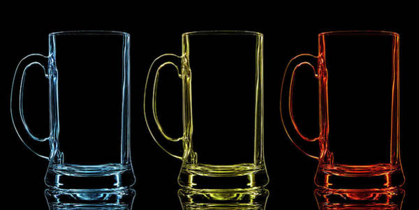 Social Event Photograph - Silhouette Of Color Beer Glass On Black by Vasil onyskiv