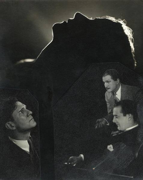 Silhouette Photograph - Silhouette Of Lynn Fontanne's Face With A Collage by Edward Steichen
