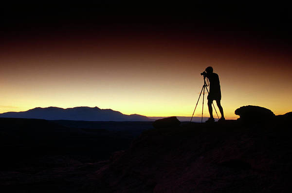 Wall Art - Photograph - Silhouette Of Man And Tripod Taking by Whit Richardson