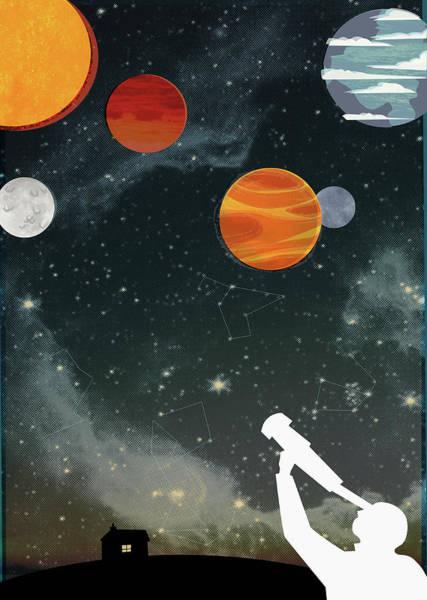 Men Digital Art - Silhouette Of Man With Telescope by Kerry Hyndman