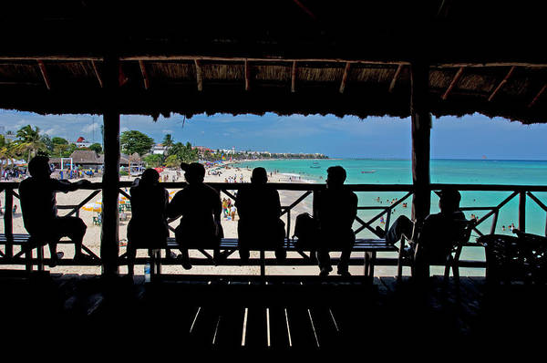Mayan Riviera Photograph - Silhouette Of Men Watching People On by Guylain Doyle