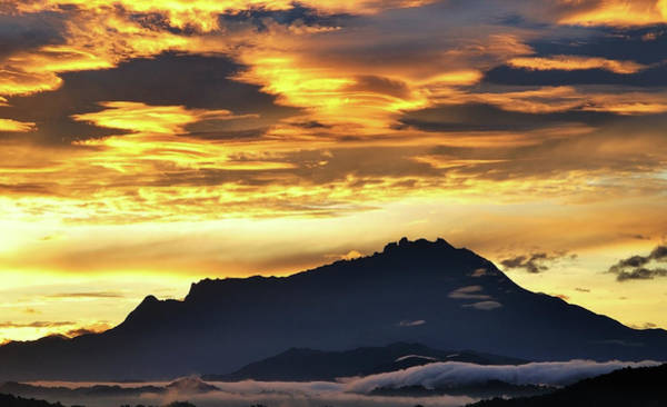 Silhouette Photograph - Silhouette Of Mt. Kinabalu At Sunrise by Nora Carol Photography