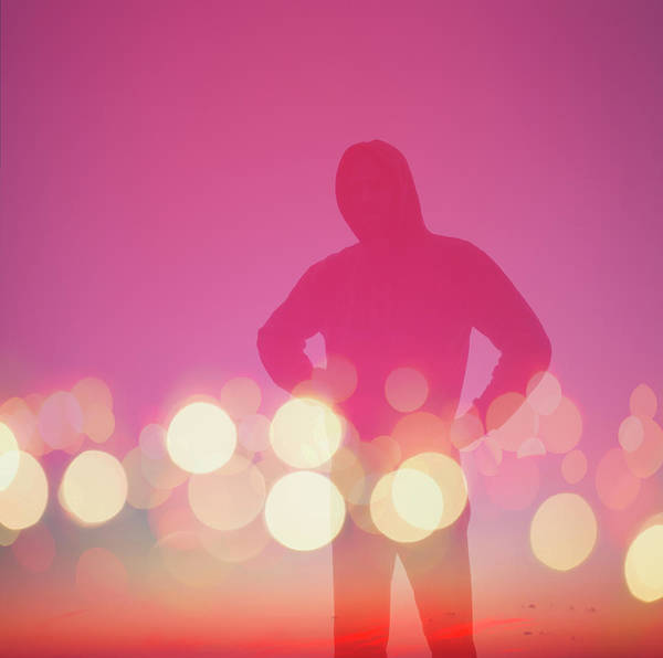 Wall Art - Photograph - Silhouette Of Person In Abstract City by Gregor Schuster