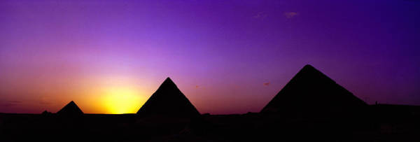 Giza Photograph - Silhouette Of Pyramids At Dusk, Giza by Panoramic Images