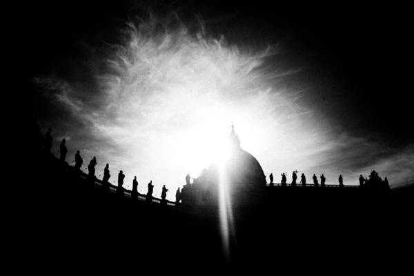 Photograph - Silhouette Of St Peters Baisilica Black White by Raimond Klavins