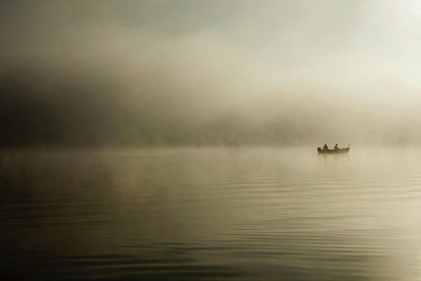Palmer Lake Photograph - Silhouette Of Two Fishermen On Palmer by Yvonne Boyd