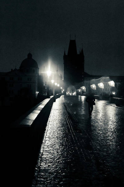 Silhouette Photograph - Silhouette On Prague Charles Bridge At by Alexandre Fp